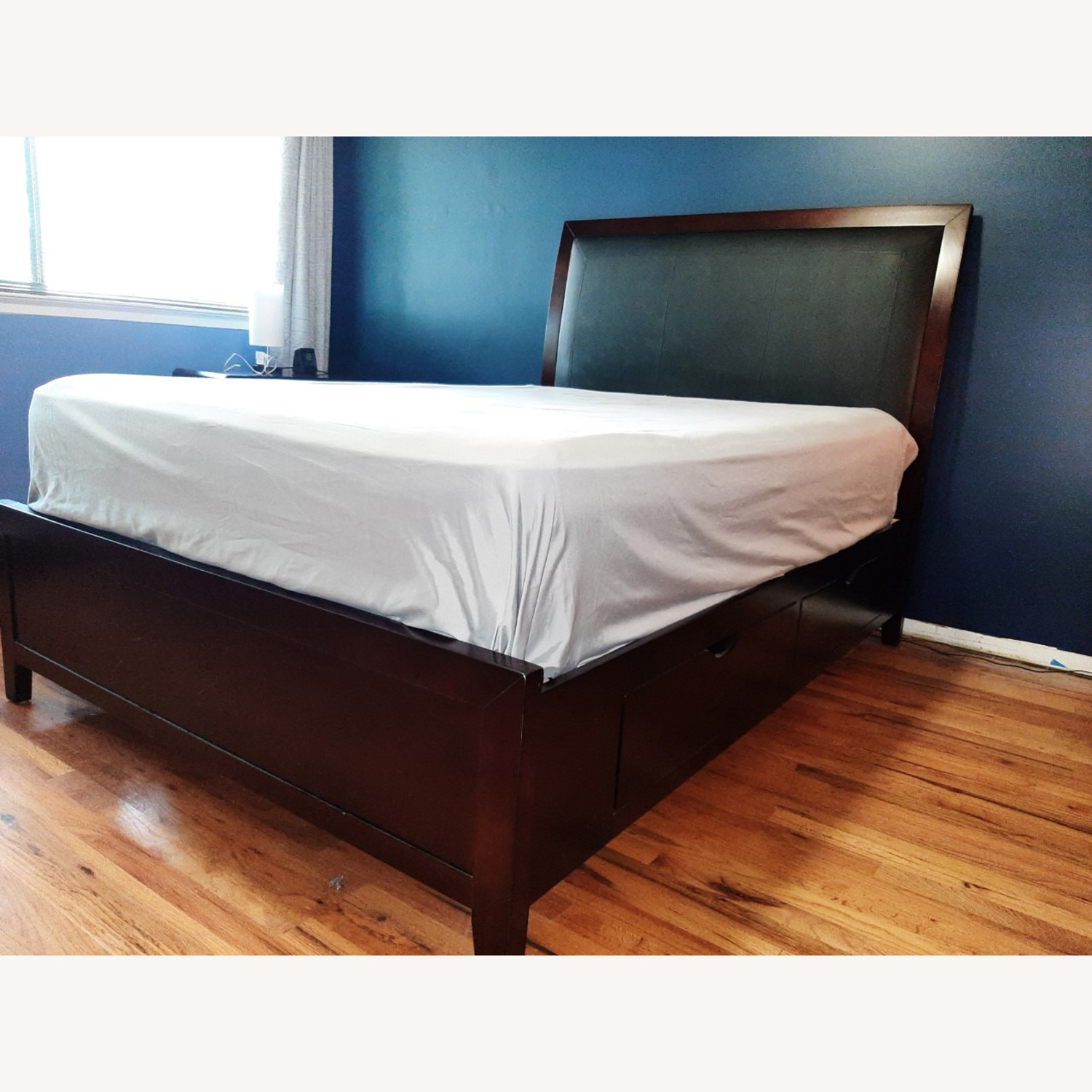 Full Sized Wood Bed Frame with Drawers - image-1