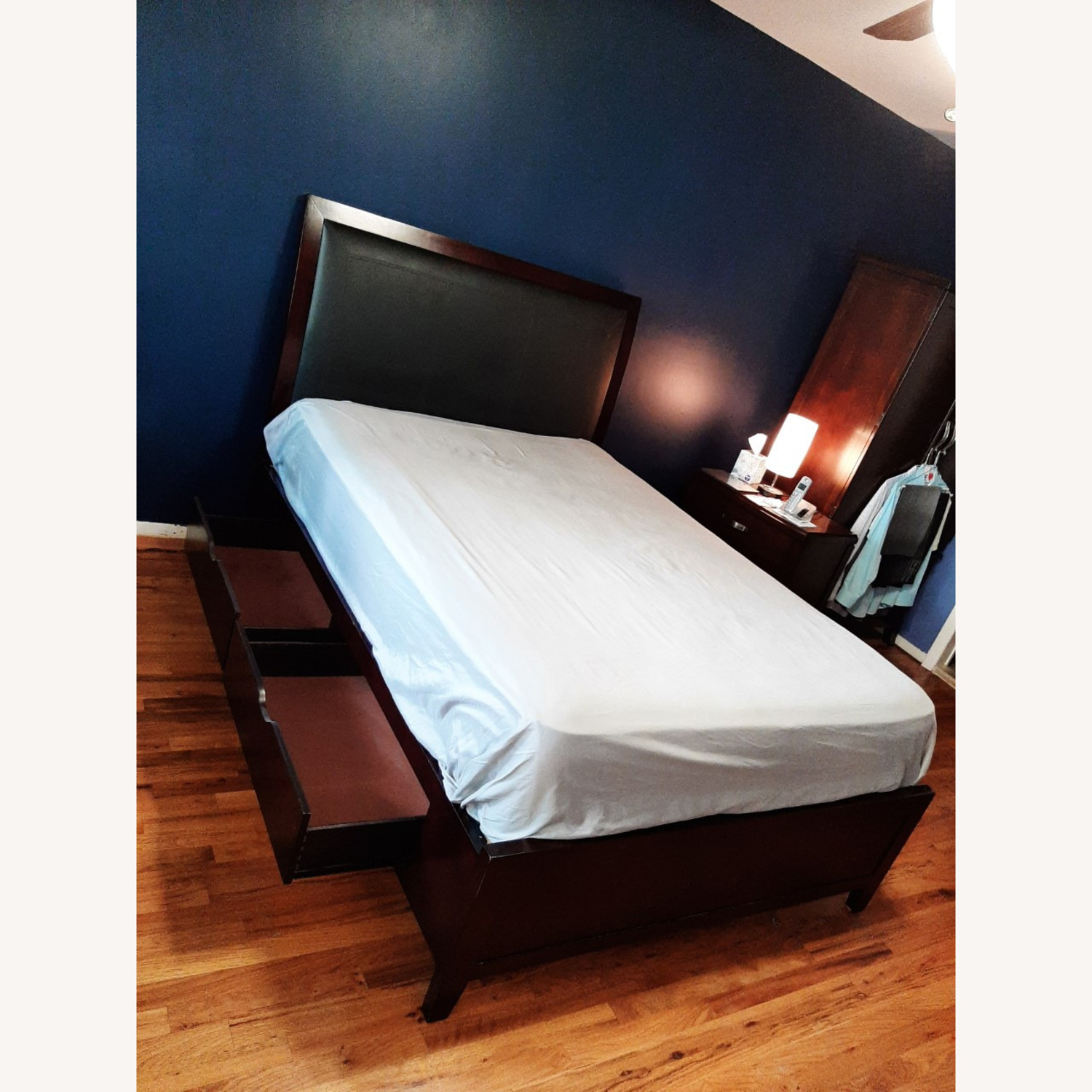 Full Sized Wood Bed Frame with Drawers - image-5