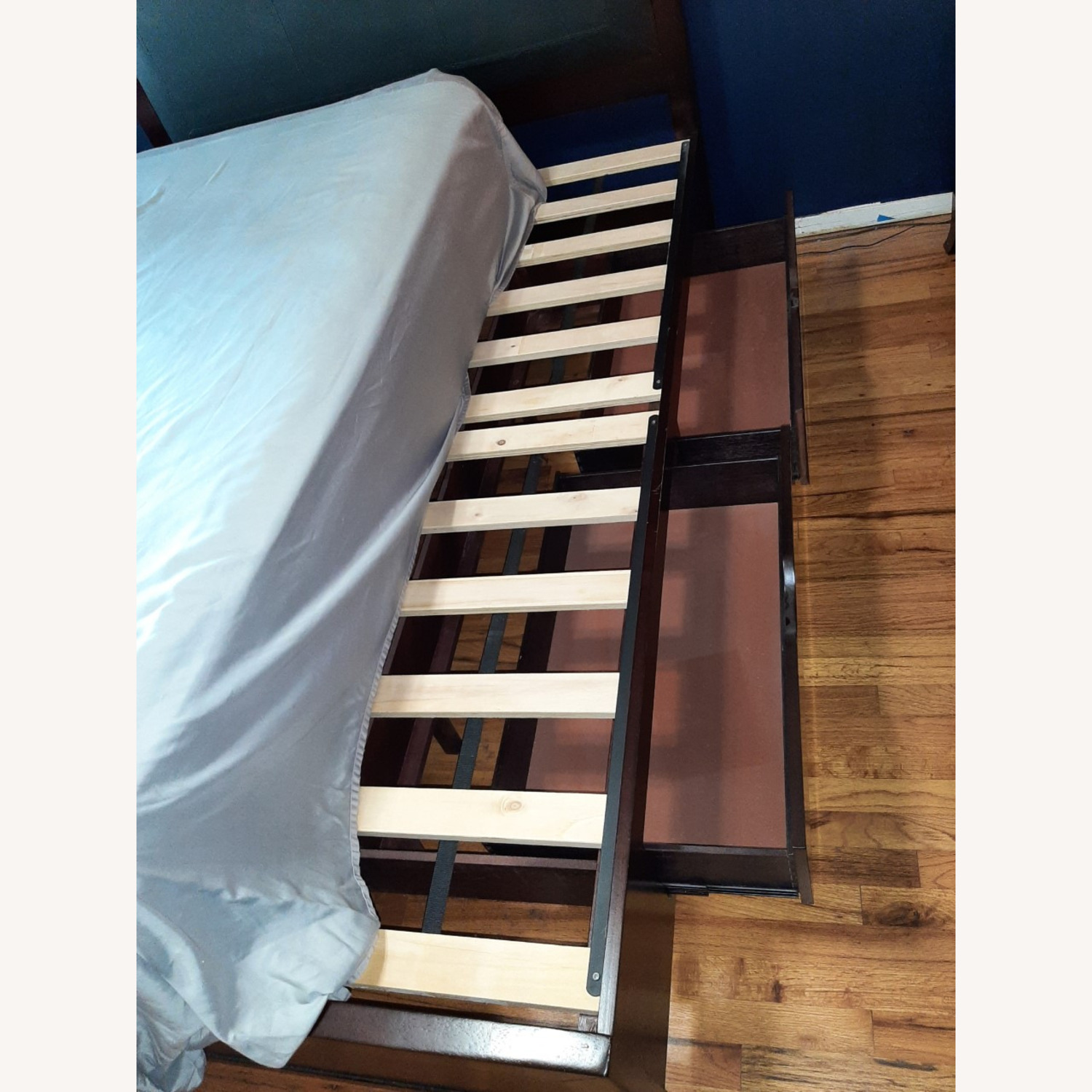 Full Sized Wood Bed Frame with Drawers - image-6