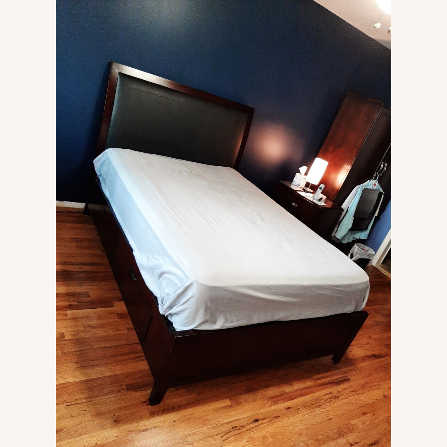 Full Sized Wood Bed Frame with Drawers - image-4