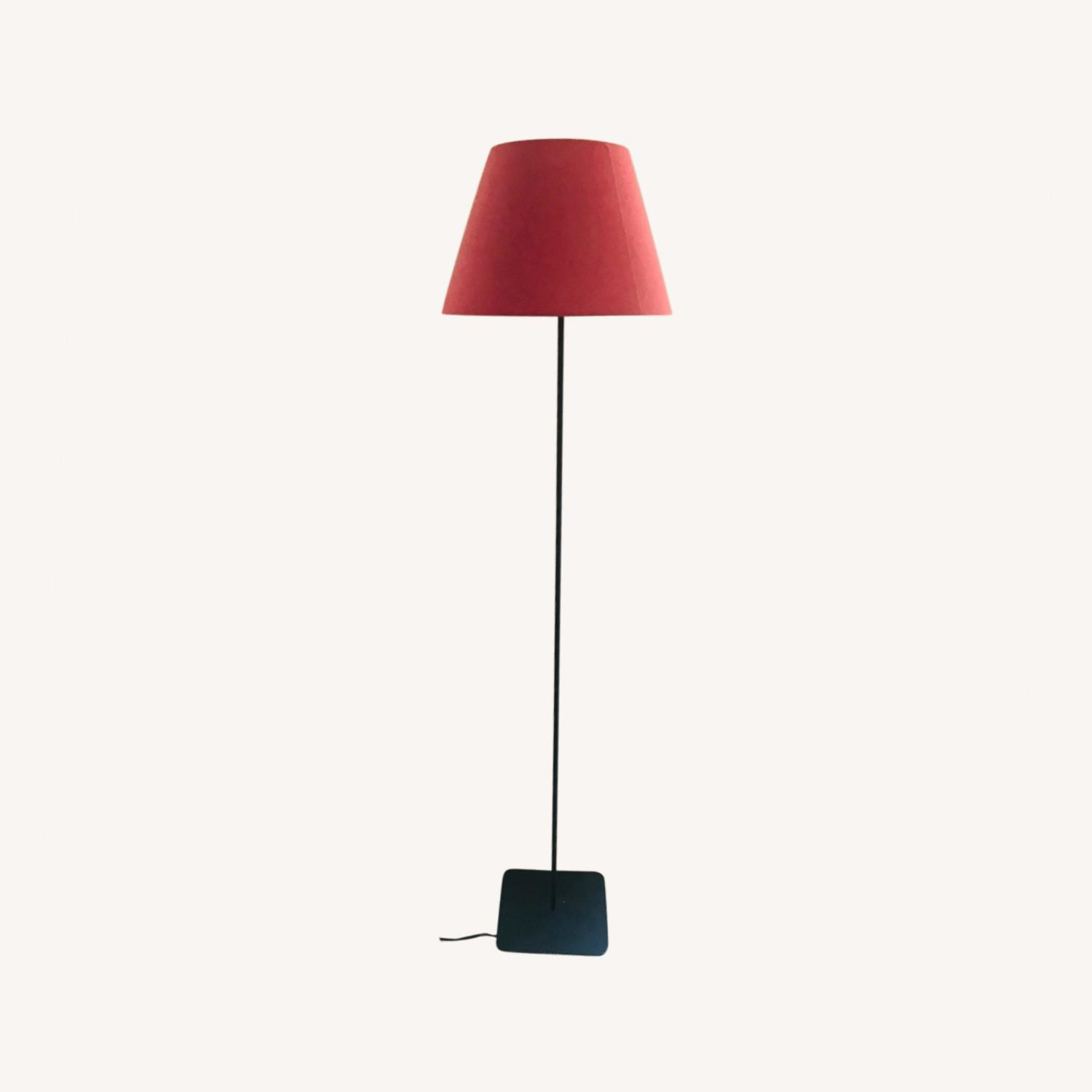 IKEA Tall Floor Lamp with a Red Lampshade - image-0