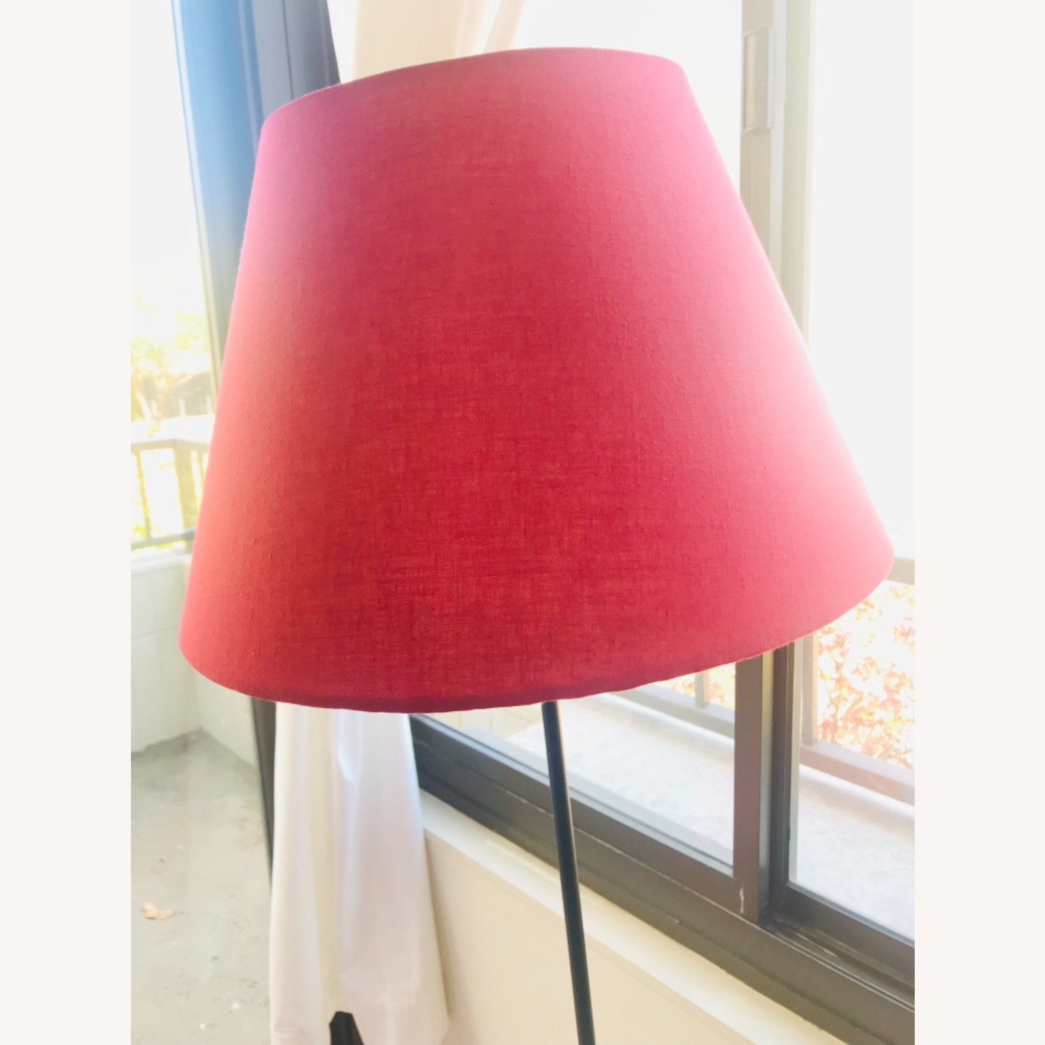 IKEA Tall Floor Lamp with a Red Lampshade - image-1