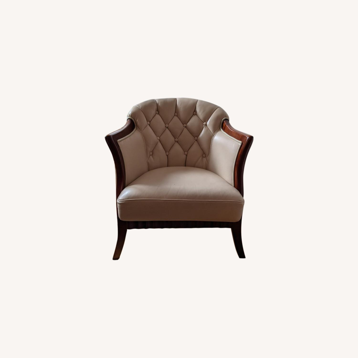Taupe Tufted Leather Arm Chair Set - image-0