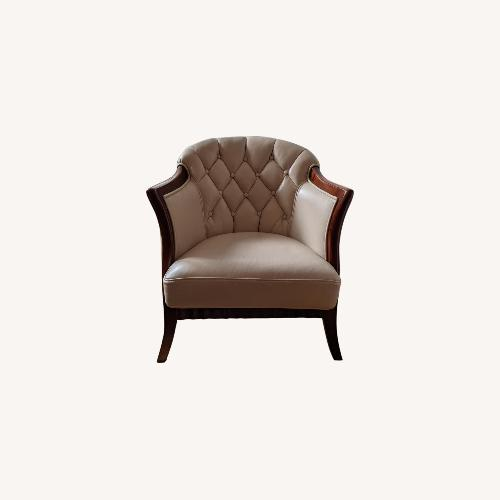 Used Taupe Tufted Leather Arm Chair Set for sale on AptDeco