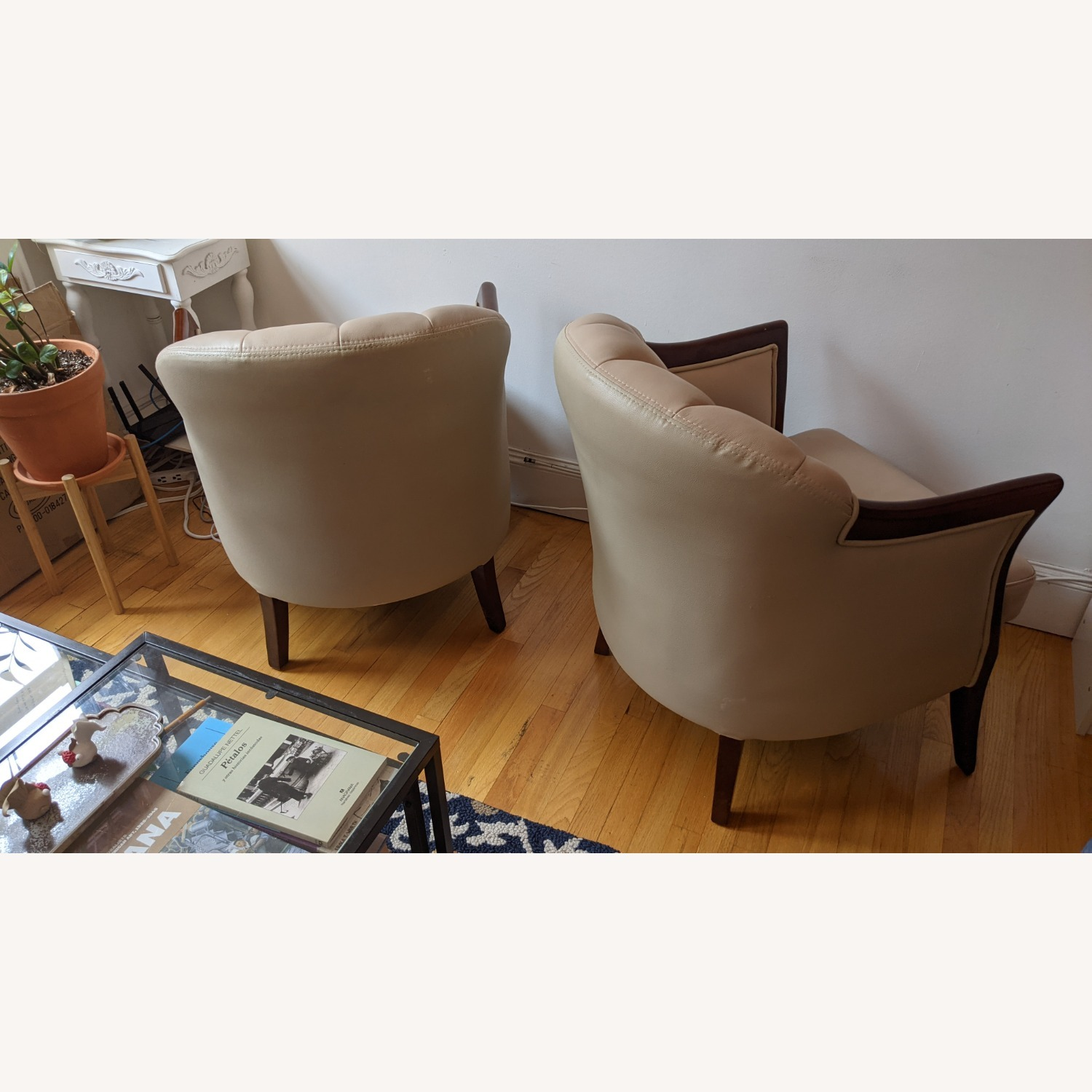 Taupe Tufted Leather Arm Chair Set - image-10