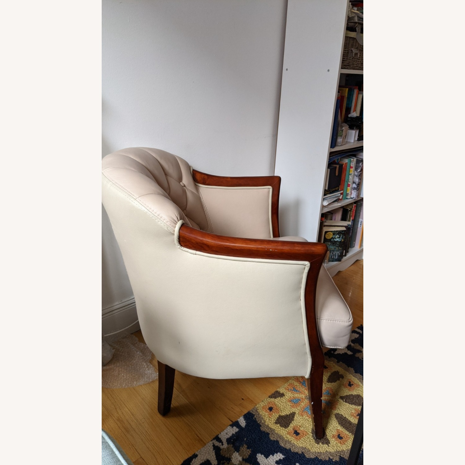 Taupe Tufted Leather Arm Chair Set - image-3