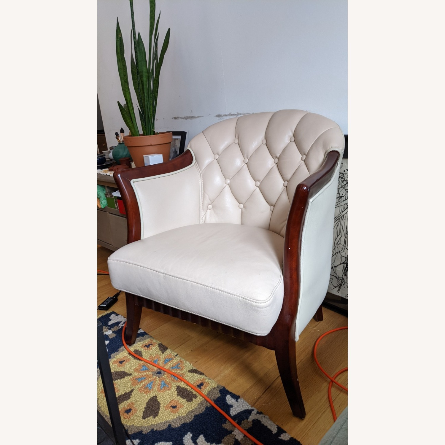 Taupe Tufted Leather Arm Chair Set - image-2