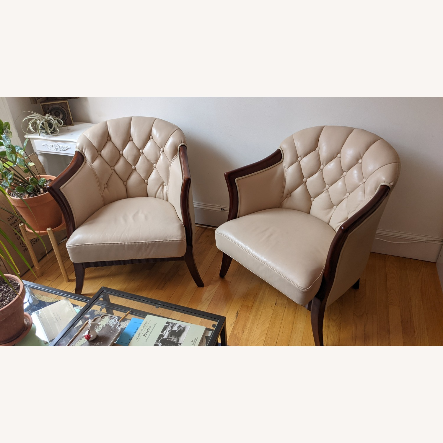 Taupe Tufted Leather Arm Chair Set - image-6