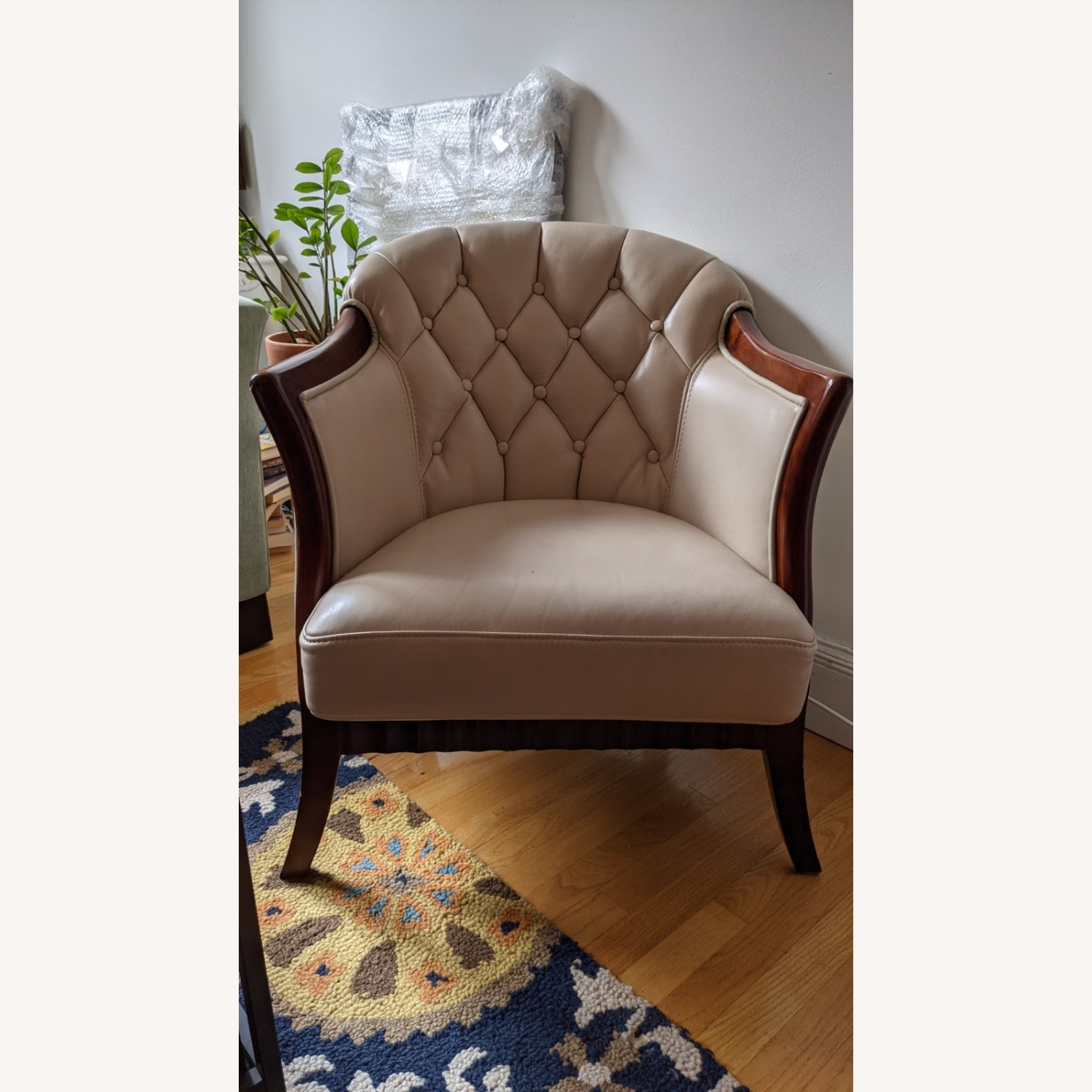 Taupe Tufted Leather Arm Chair Set - image-1
