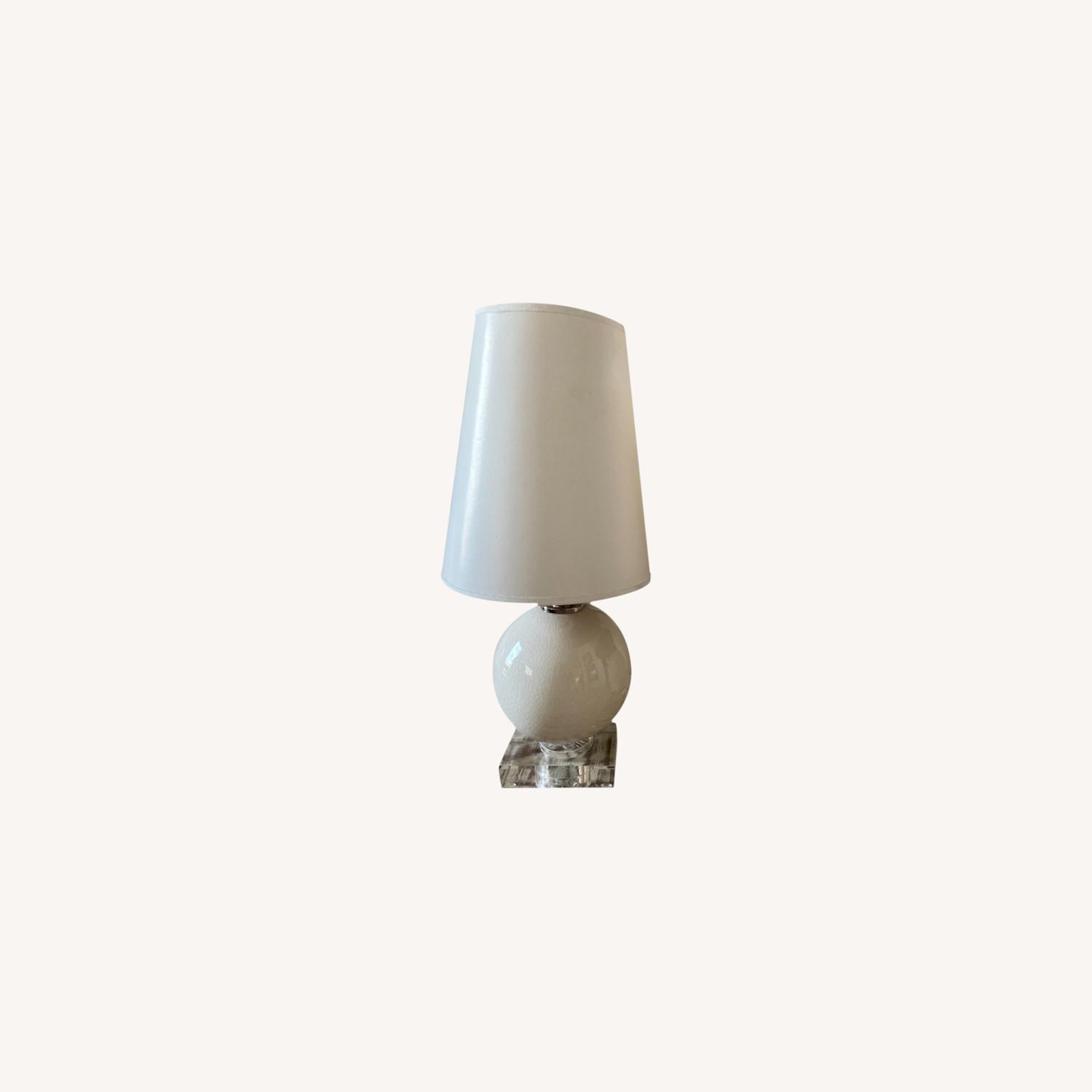 Crackled Glass Table Lamps w Lucite Base - image-6