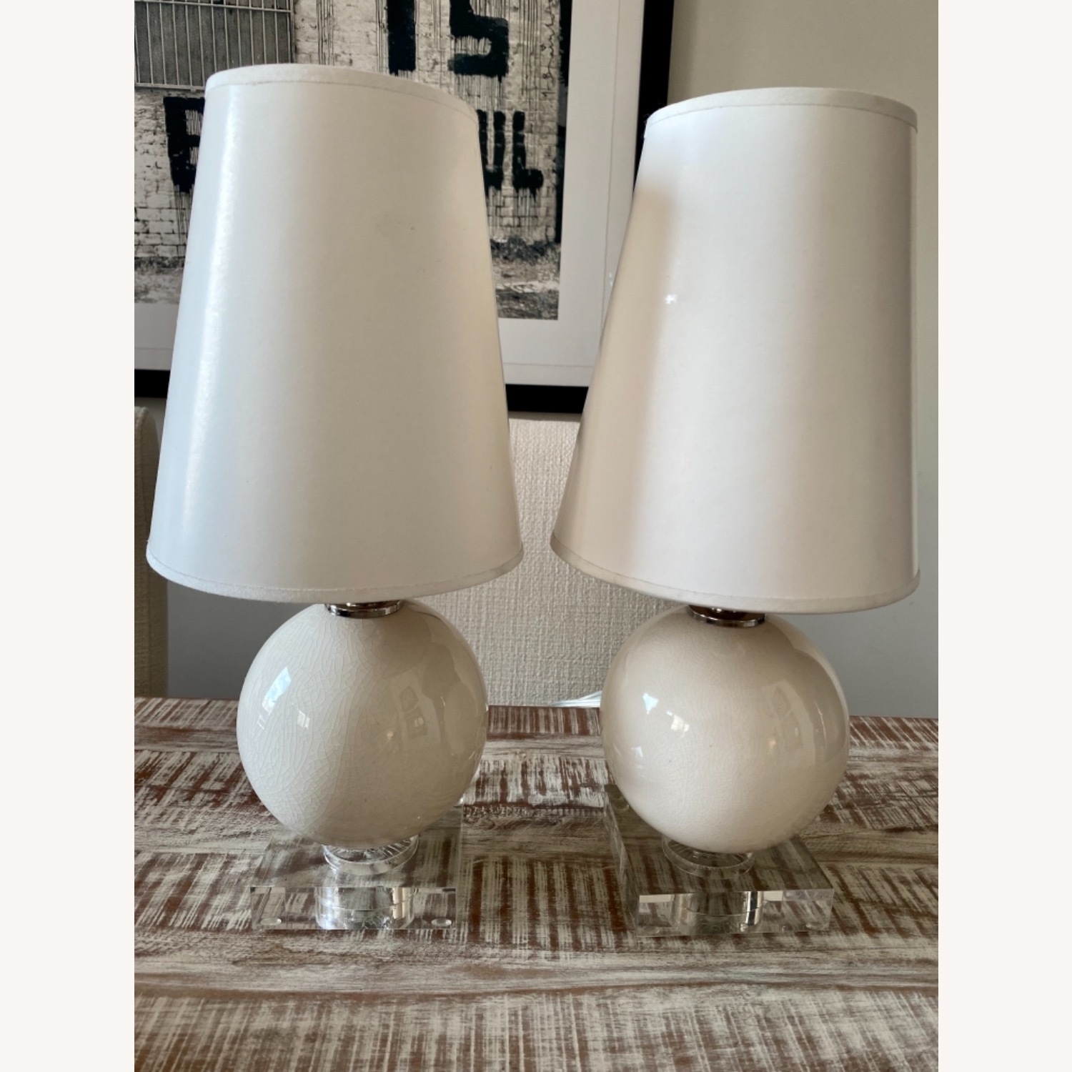 Crackled Glass Table Lamps w Lucite Base - image-2