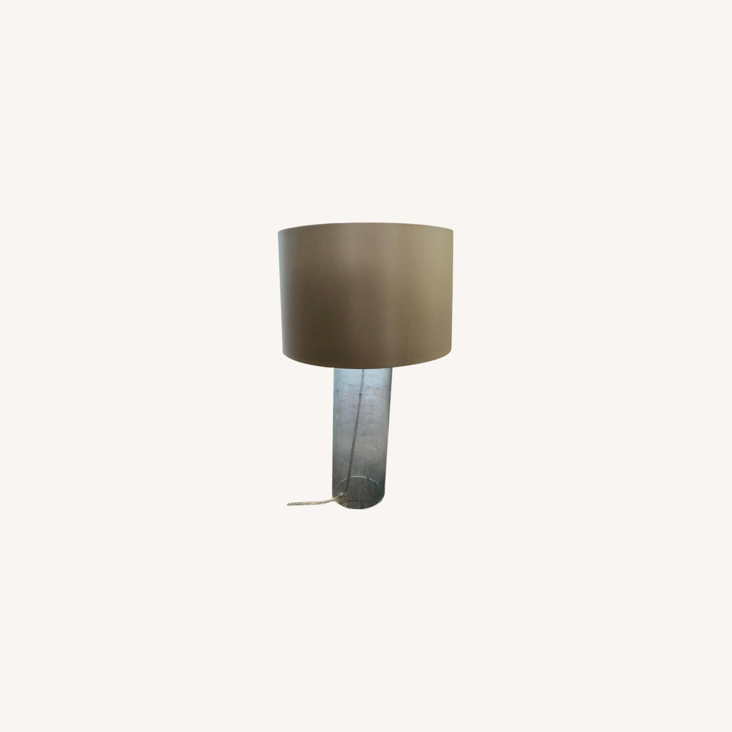 Glass Linen Etched Table Lamp - image-0