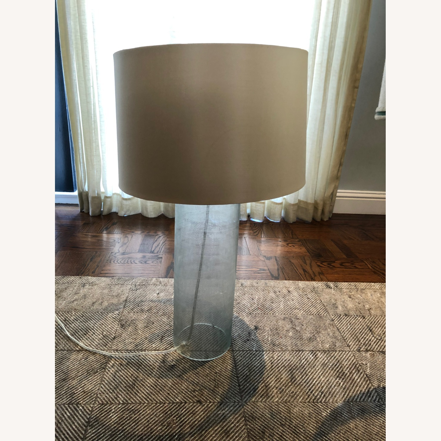 Glass Linen Etched Table Lamp - image-1