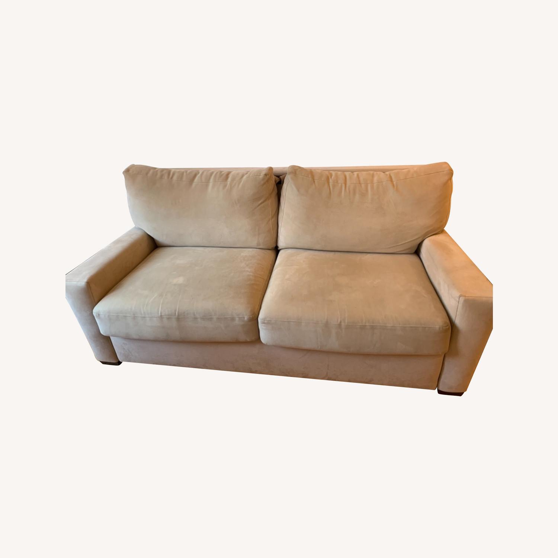 Natural Herringbone Microsuede Queen Sleeper Sofa - image-0