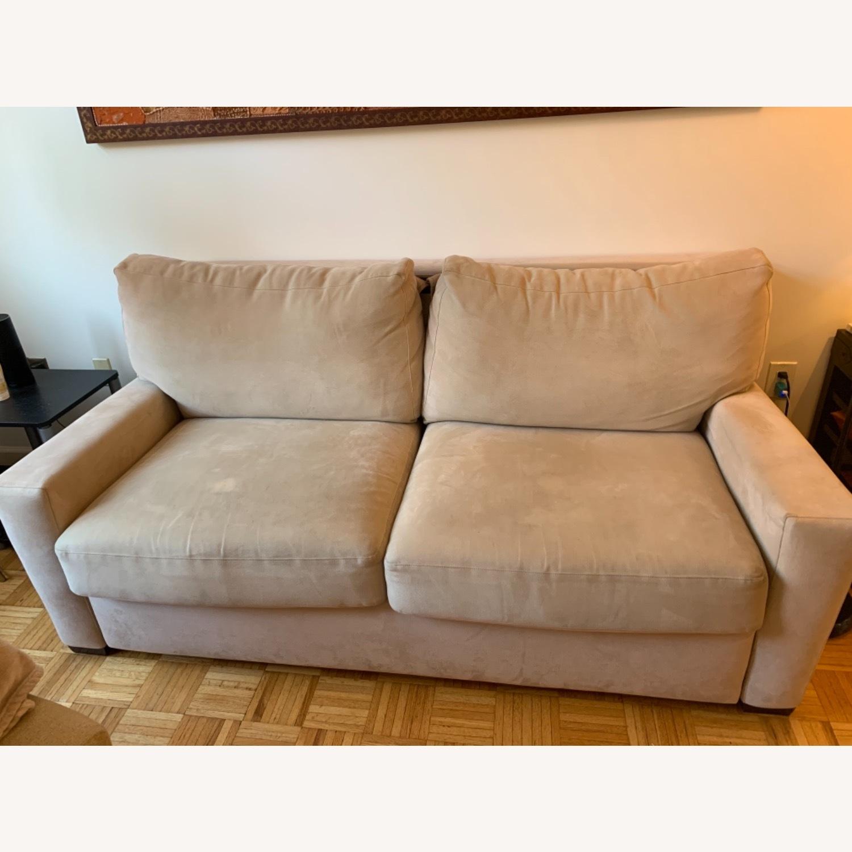 Natural Herringbone Microsuede Queen Sleeper Sofa - image-4