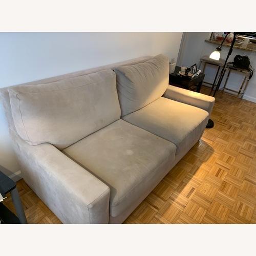 Used Natural Herringbone Microsuede Queen Sleeper Sofa for sale on AptDeco