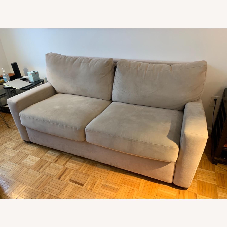 Natural Herringbone Microsuede Queen Sleeper Sofa - image-3