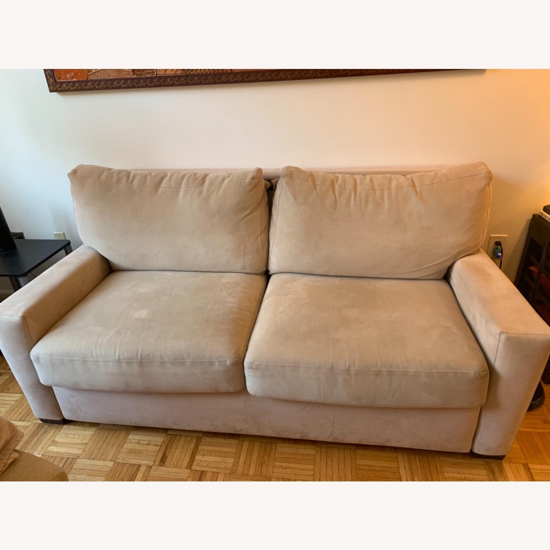 Natural Herringbone Microsuede Queen Sleeper Sofa - image-5