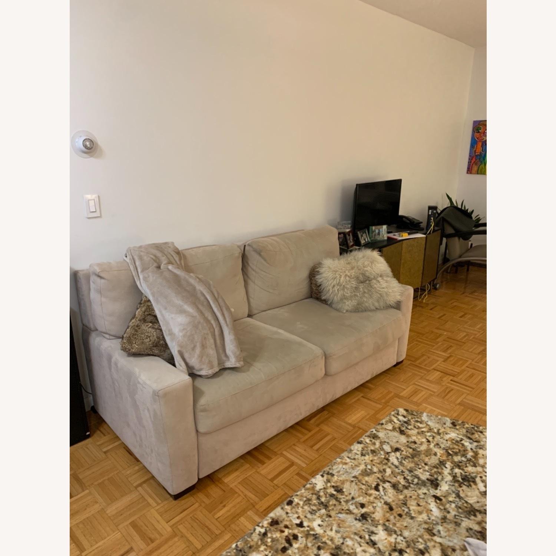 Natural Herringbone Microsuede Queen Sleeper Sofa - image-2