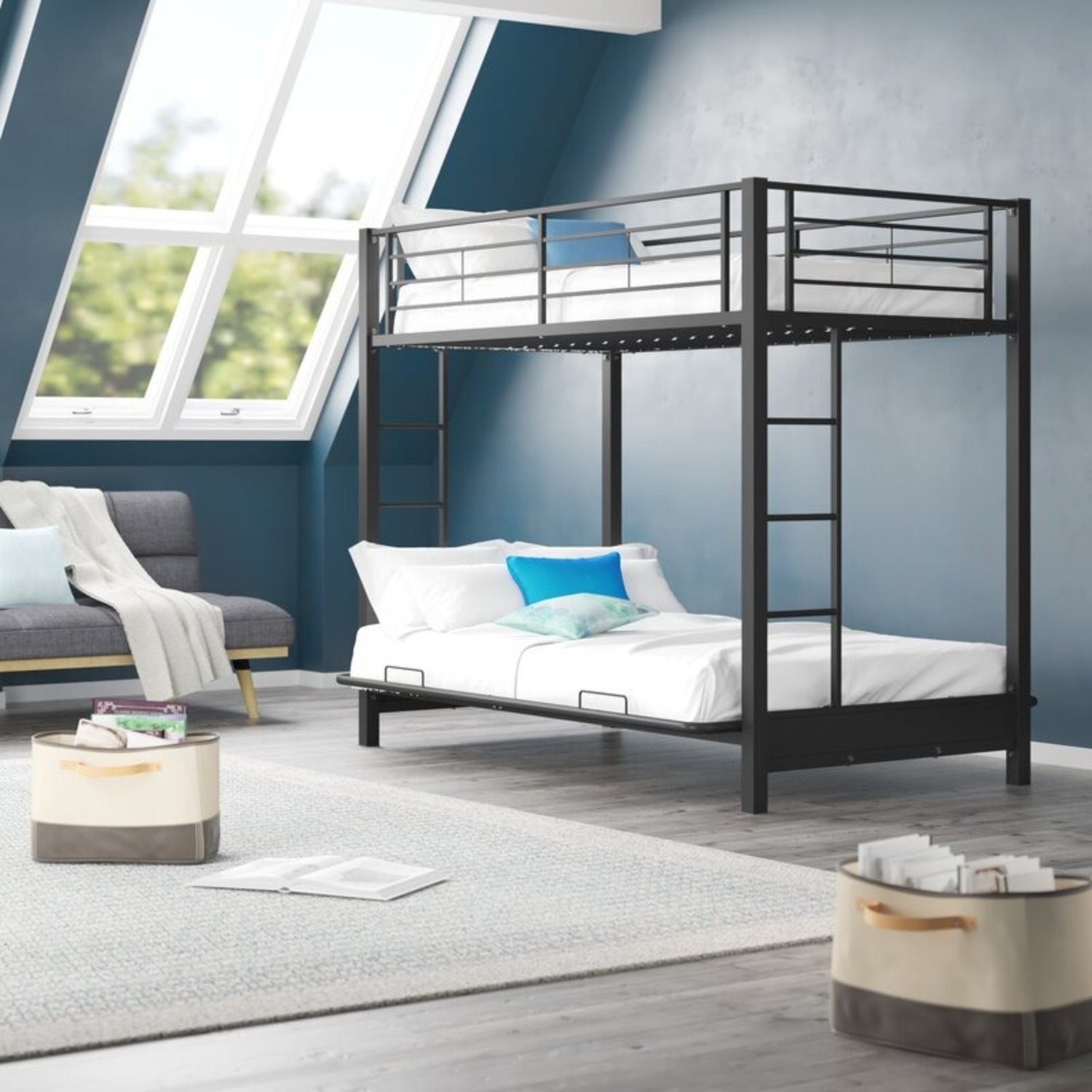 Wayfair Exmore Twin Over Full Metal (with Futon) Bunk Bed - image-2