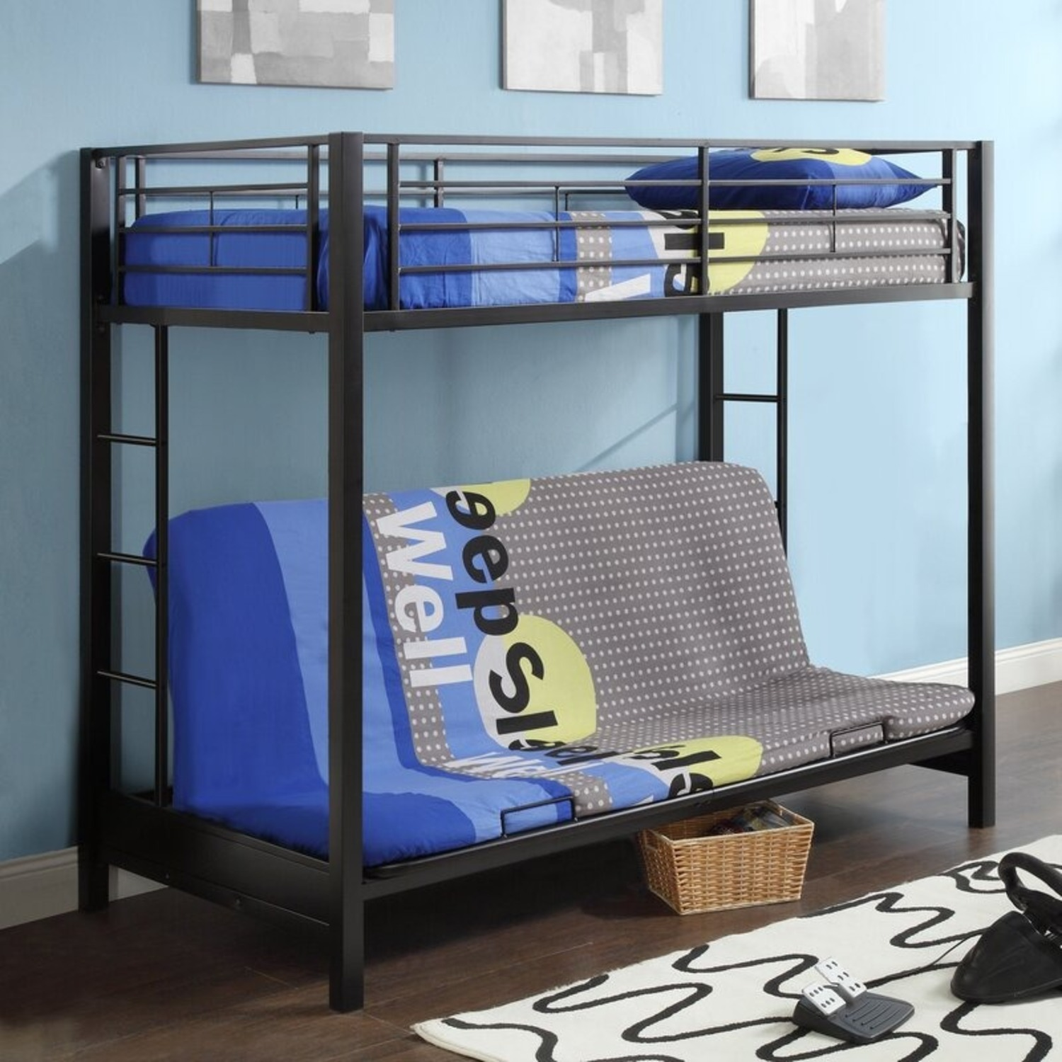 Wayfair Exmore Twin Over Full Metal (with Futon) Bunk Bed - image-1