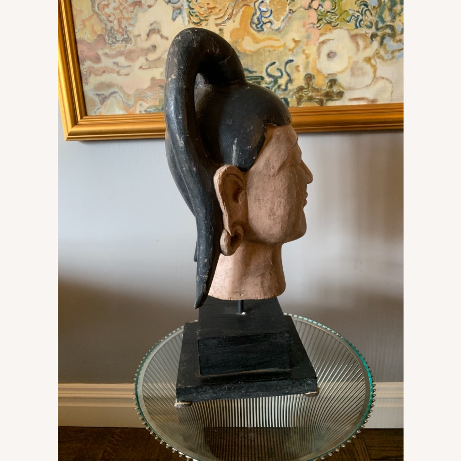 Carving of a Burmese Woman face in one solid piece - image-2