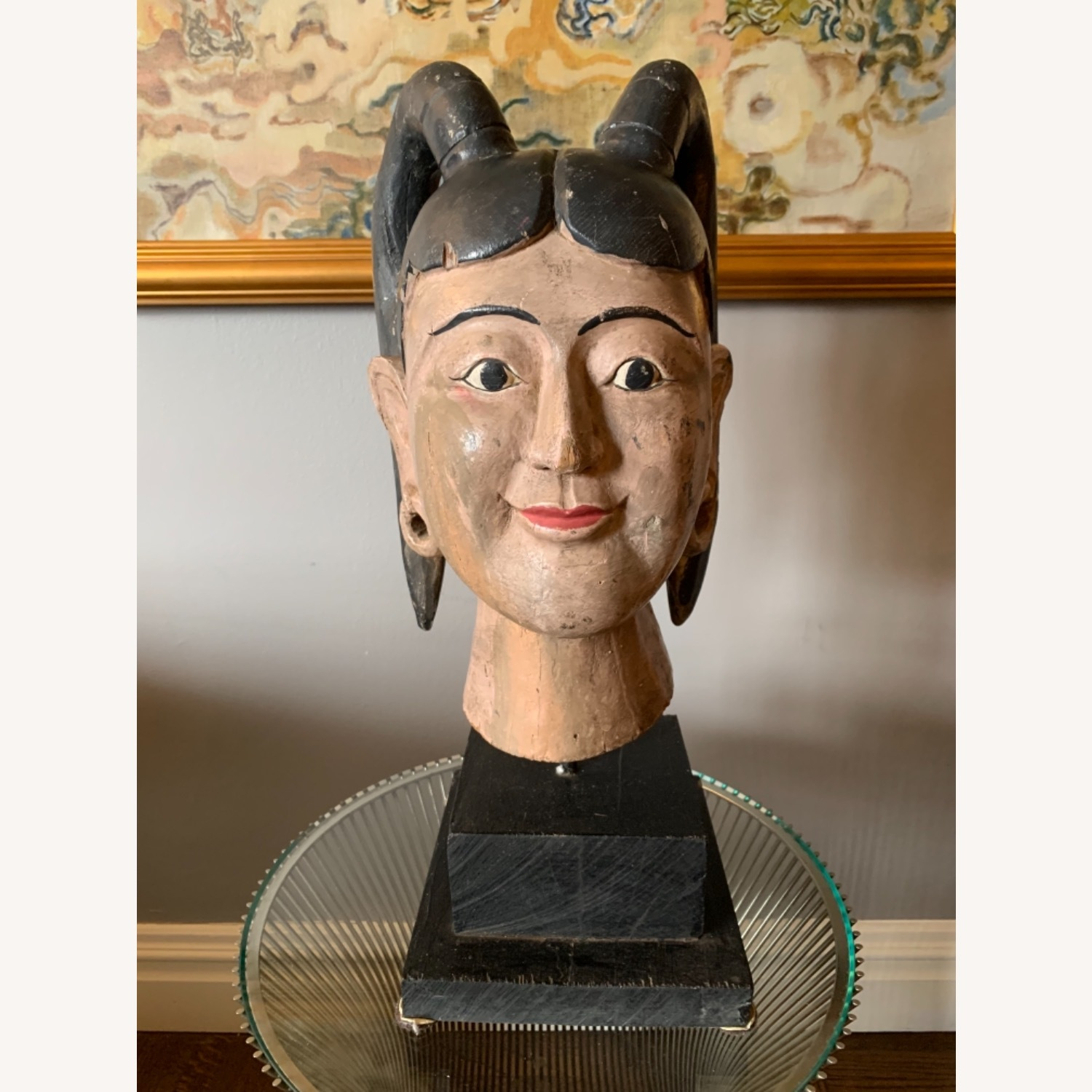 Carving of a Burmese Woman face in one solid piece - image-1
