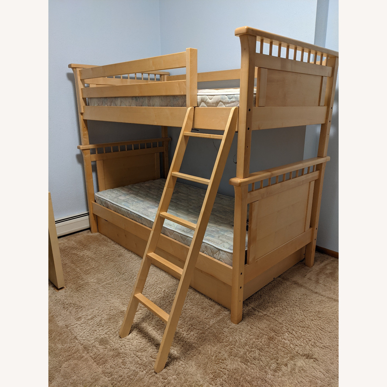 Solid Wood Bunk Beds w/ Under Bed Storage Drawers - image-1