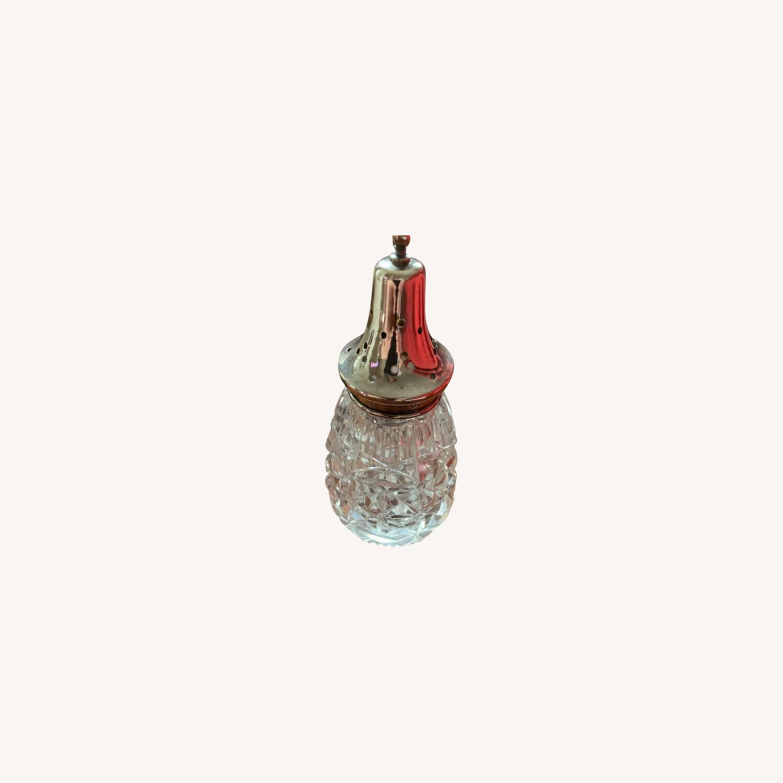 Antique Sterling Silver Crystal Sugar Shaker - image-0