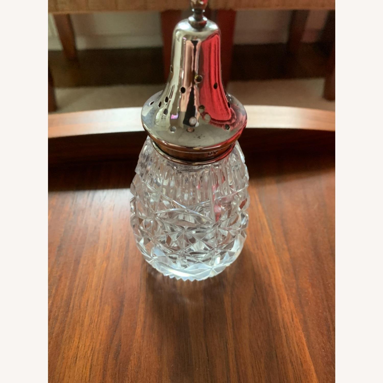 Antique Sterling Silver Crystal Sugar Shaker - image-1
