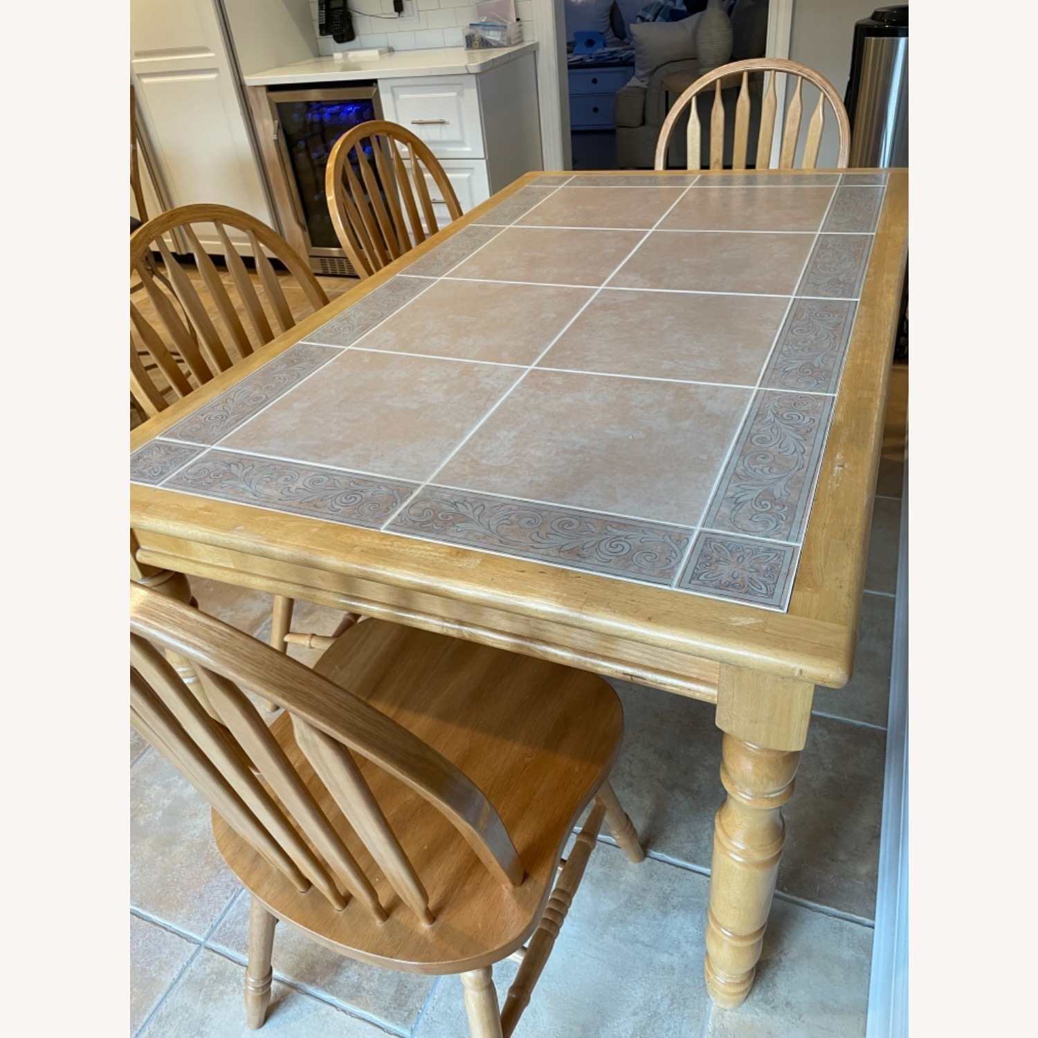 Fortunoff Natural Wood Table with 6 Chairs - image-3