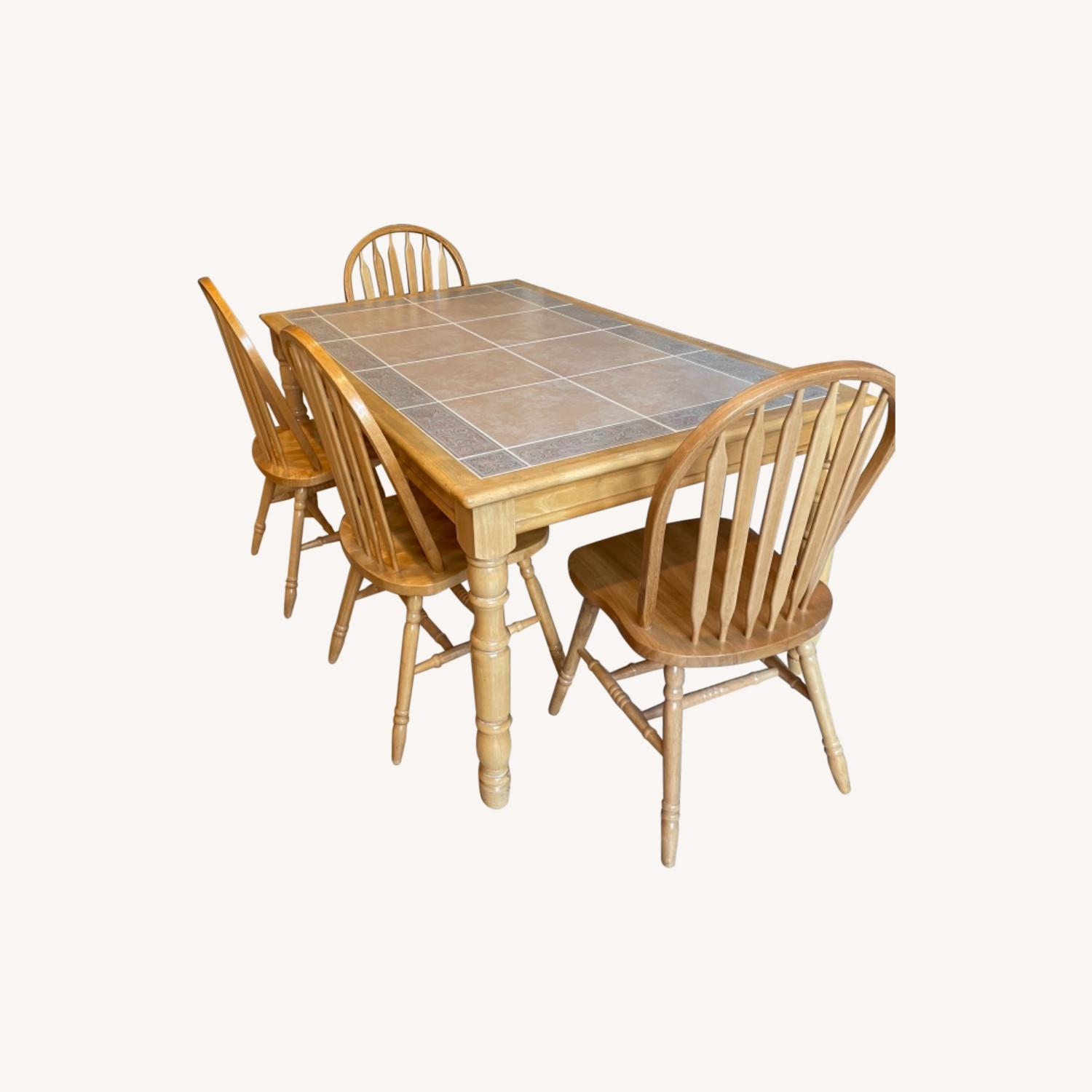 Fortunoff Natural Wood Table with 6 Chairs - image-0