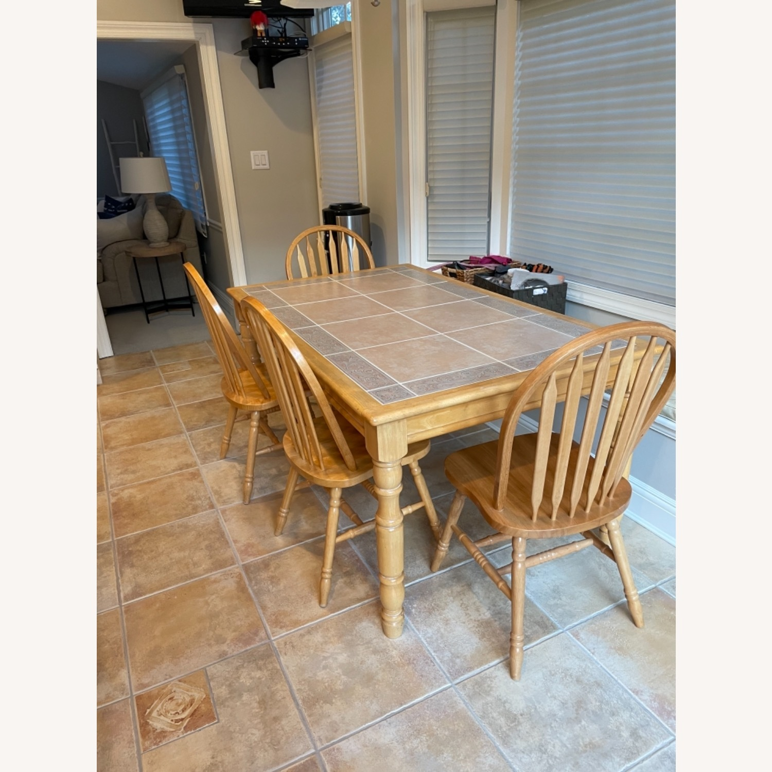 Fortunoff Natural Wood Table with 6 Chairs - image-1