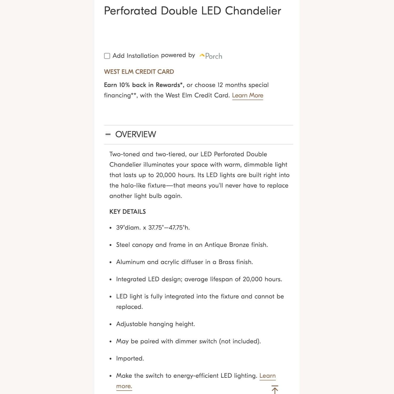 West Elm Perforated Double LED Chandelier - image-5
