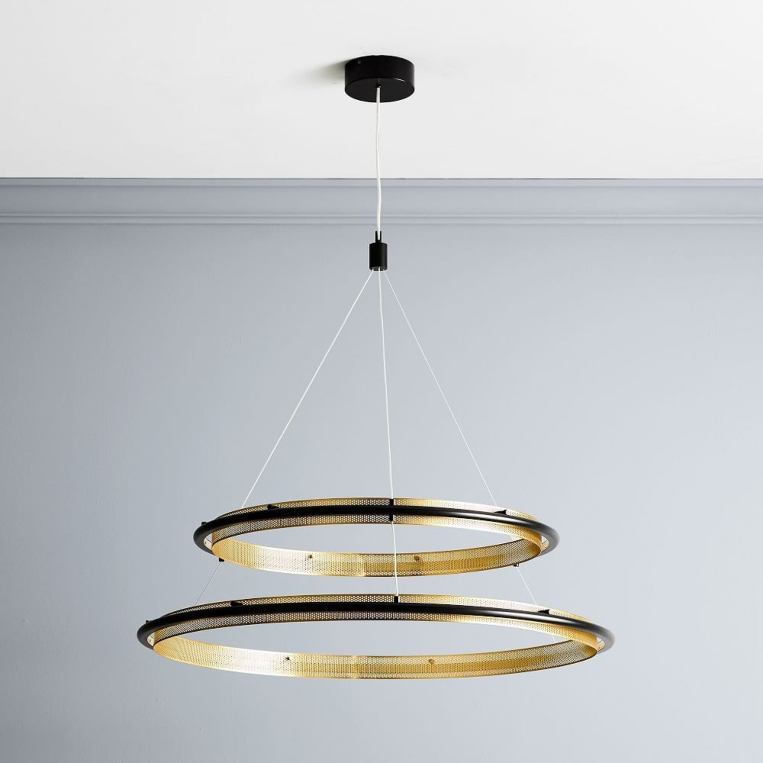 West Elm Perforated Double LED Chandelier - image-1