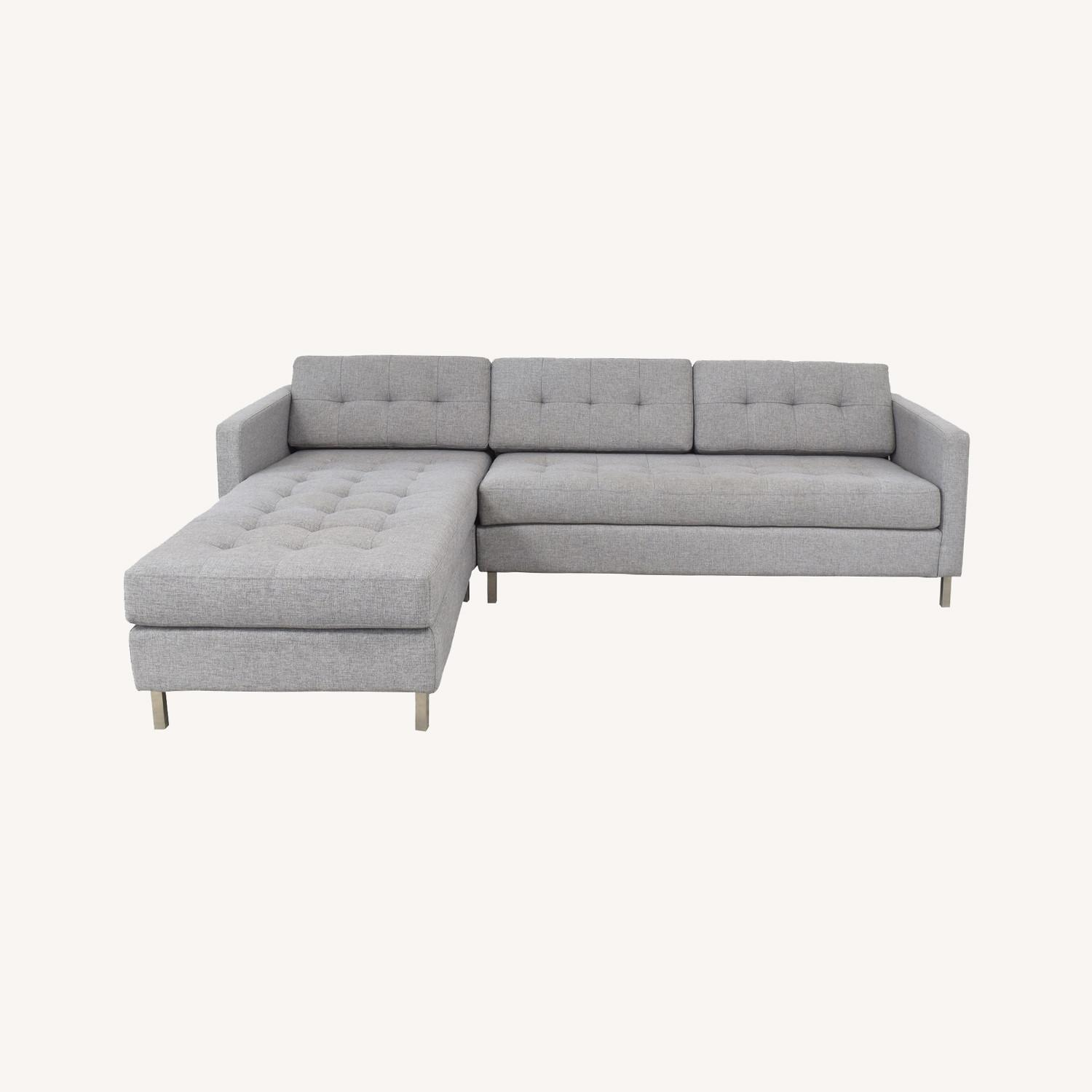 CB2 Ditto II Tufted Chaise Sectional Sofa Grey - image-0