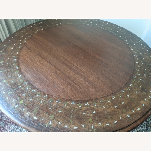 Used Round Rosewood Dining Table with Inlay for sale on AptDeco