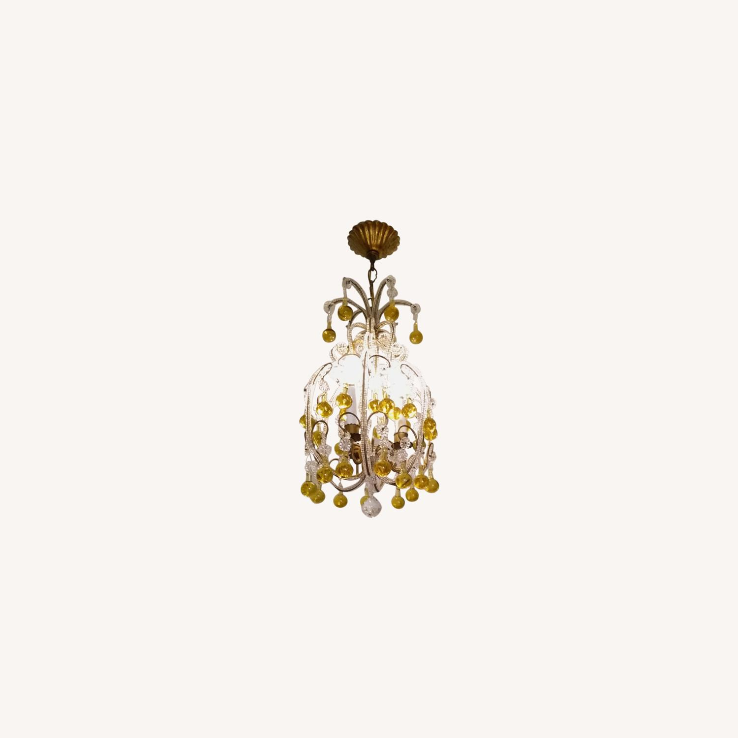 Vintage French Chandelier, Murano Drops - image-0