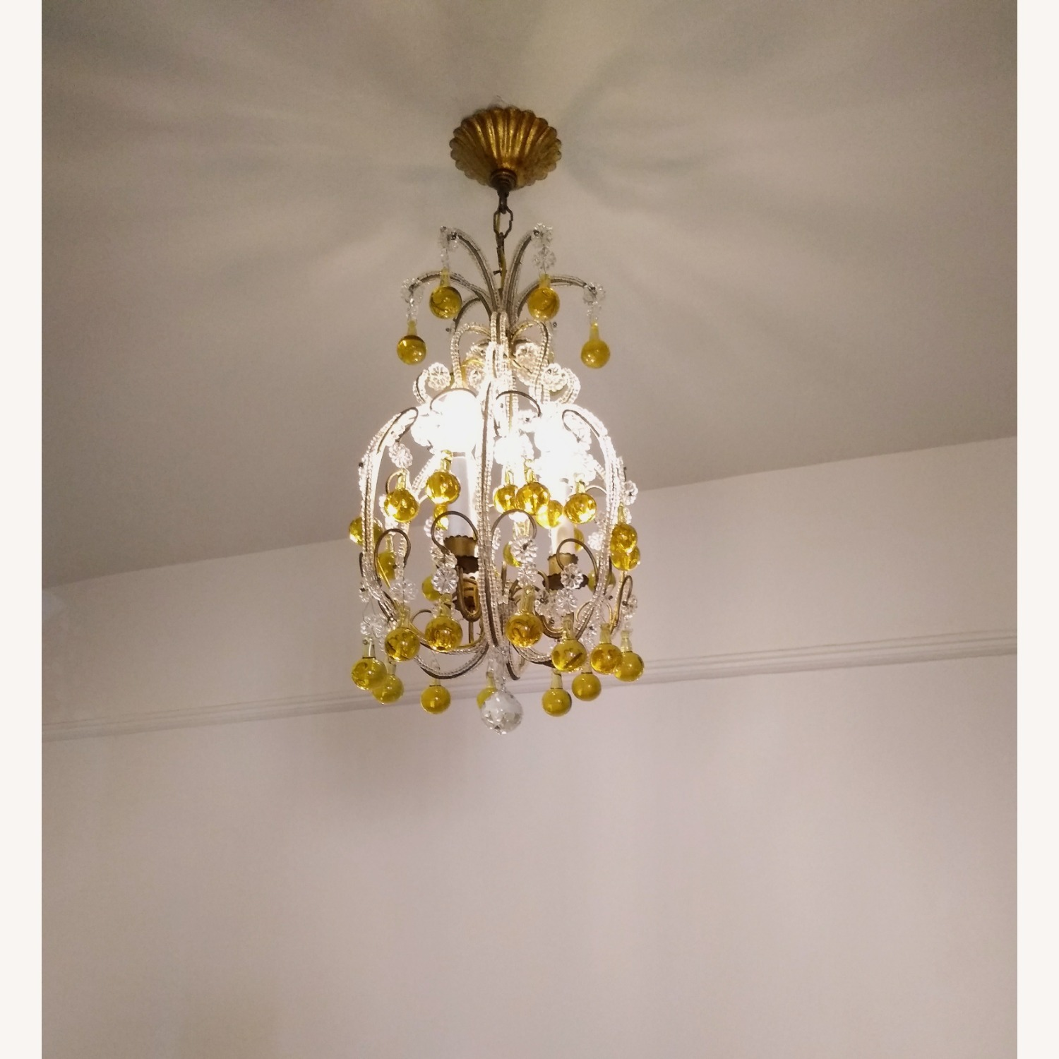 Vintage French Chandelier, Murano Drops - image-1