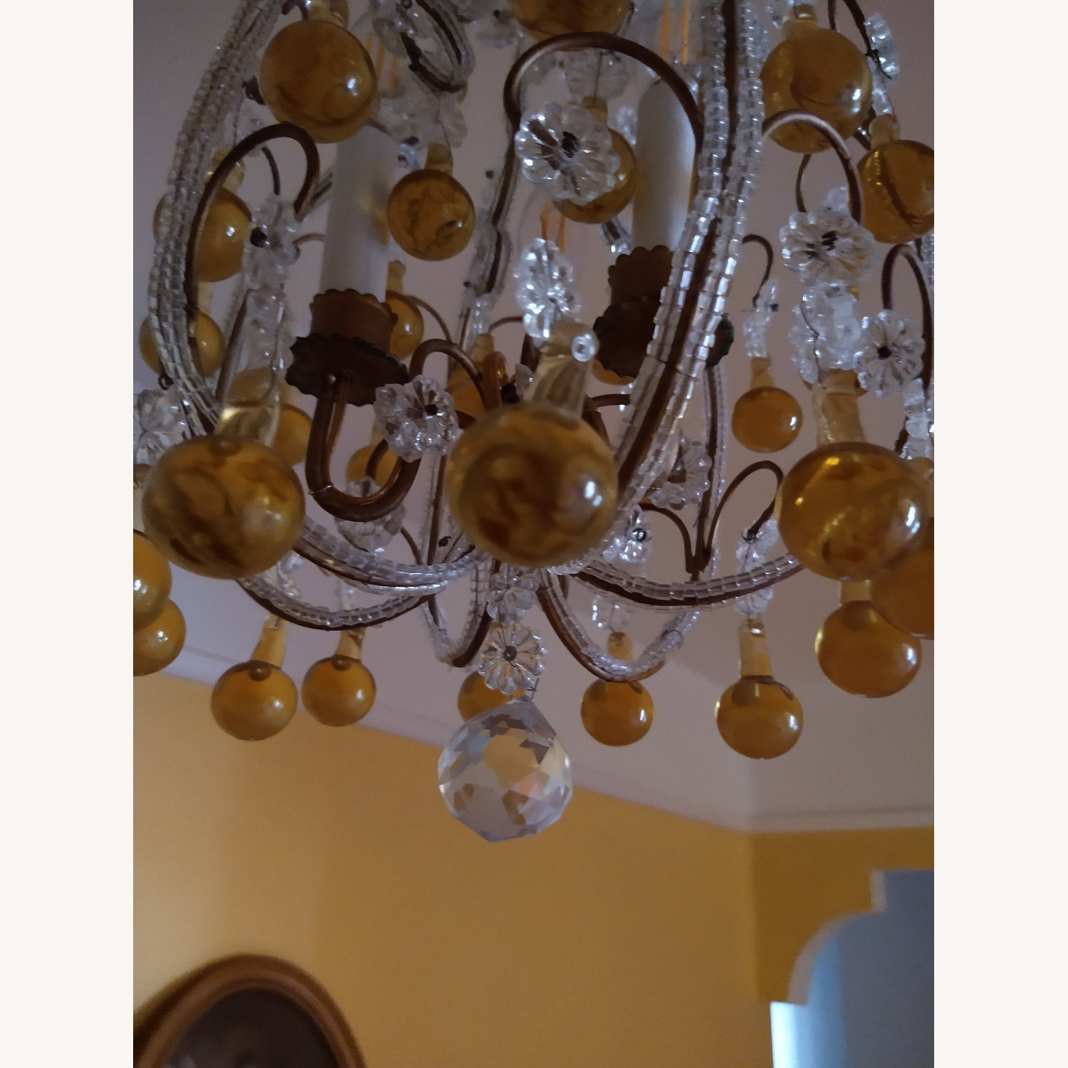 Vintage French Chandelier, Murano Drops - image-4