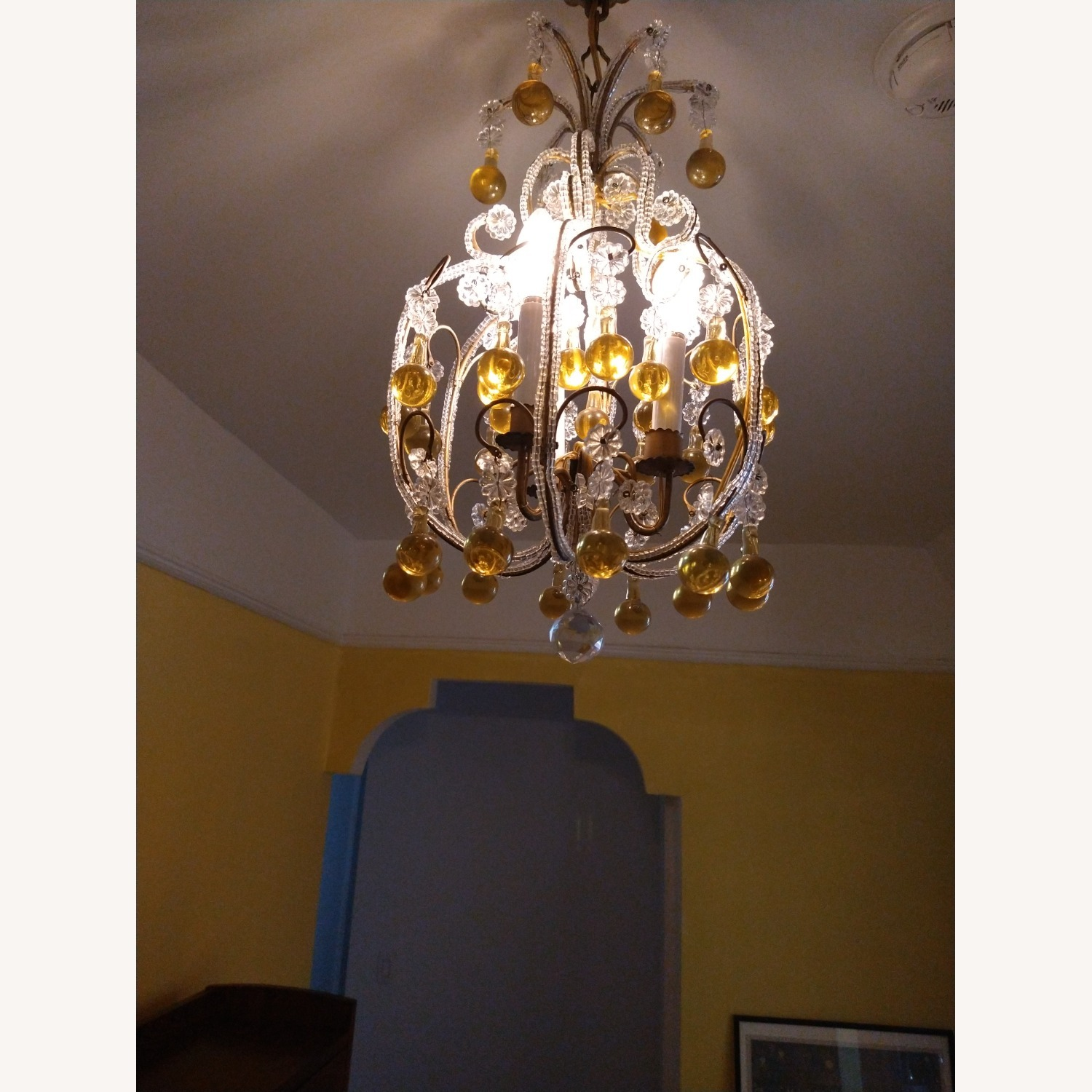 Vintage French Chandelier, Murano Drops - image-8