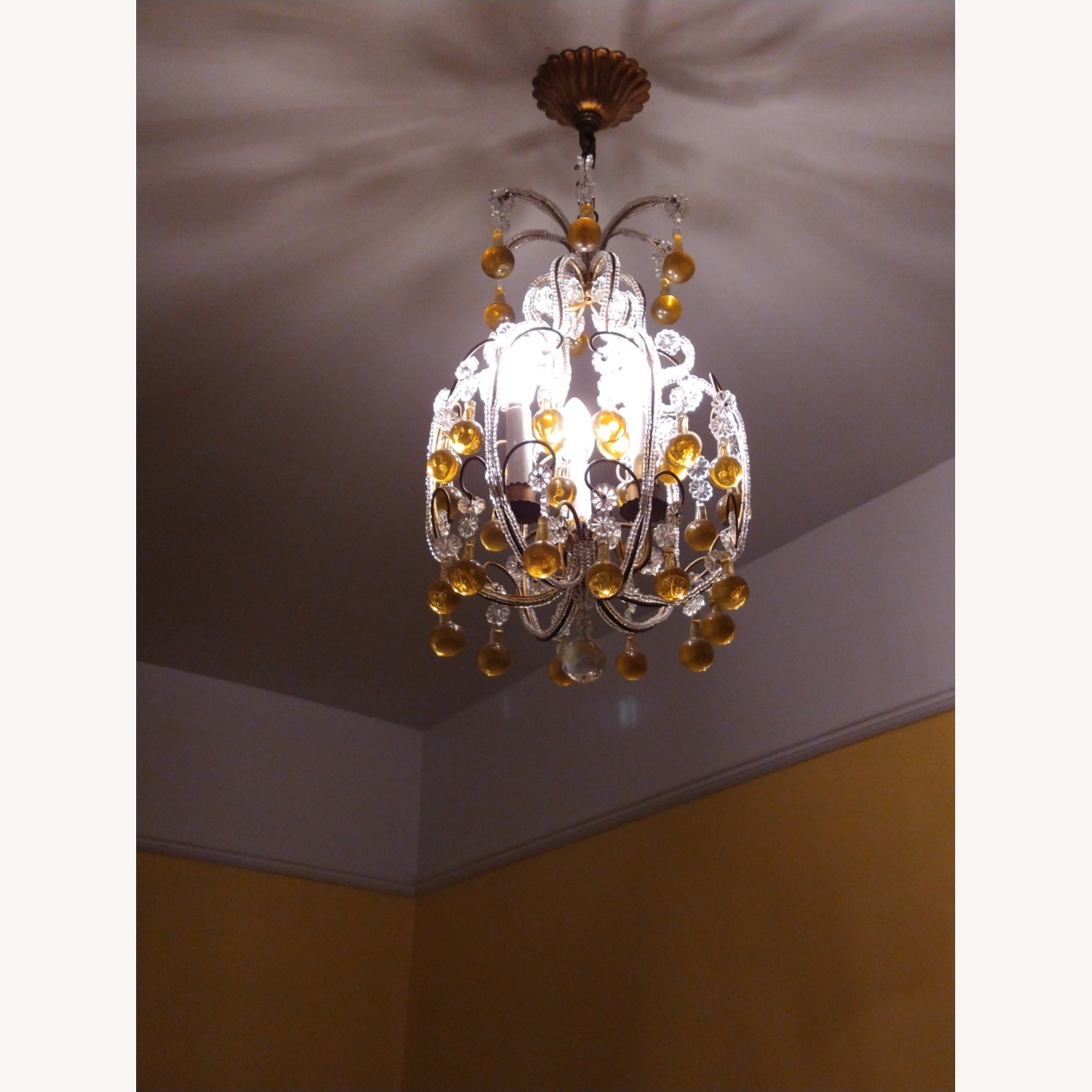Vintage French Chandelier, Murano Drops - image-7