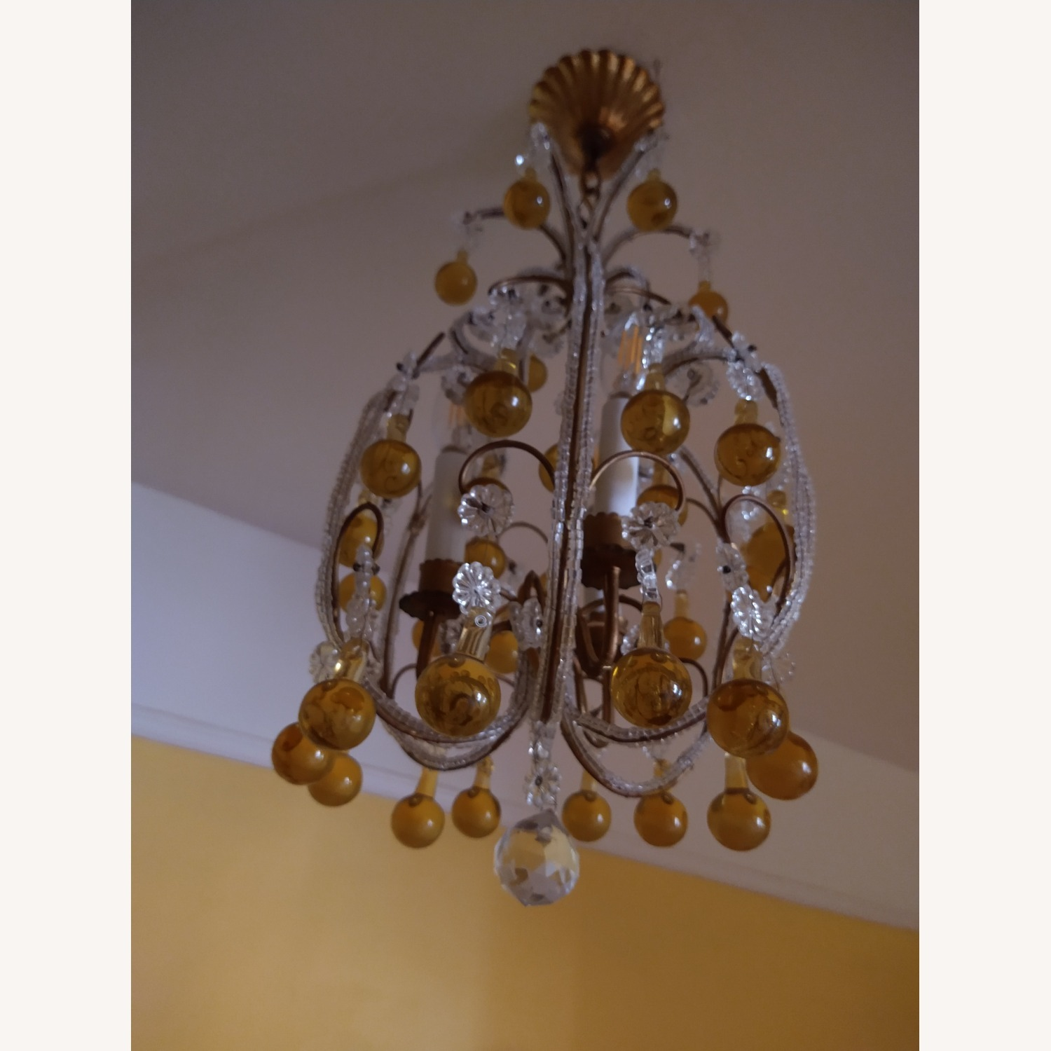 Vintage French Chandelier, Murano Drops - image-3