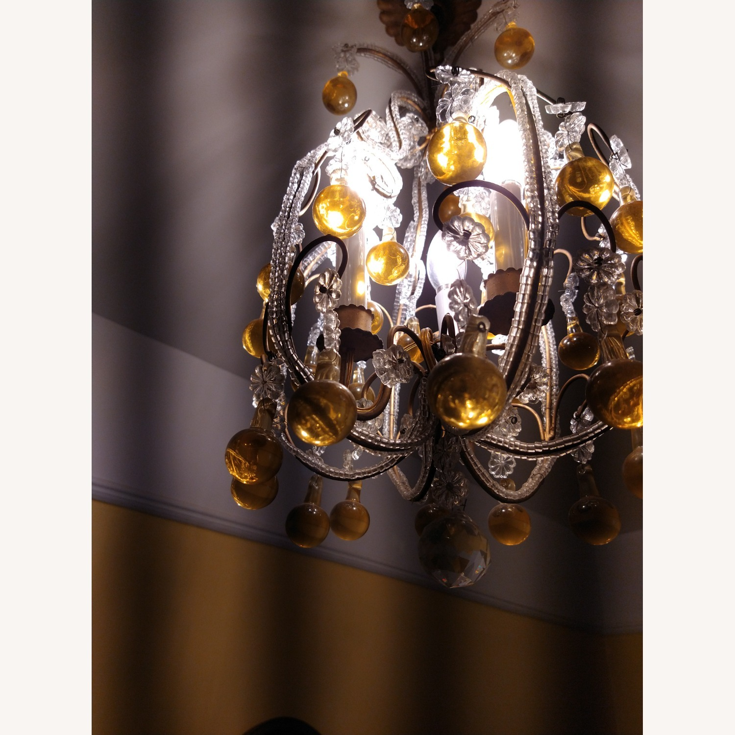 Vintage French Chandelier, Murano Drops - image-6