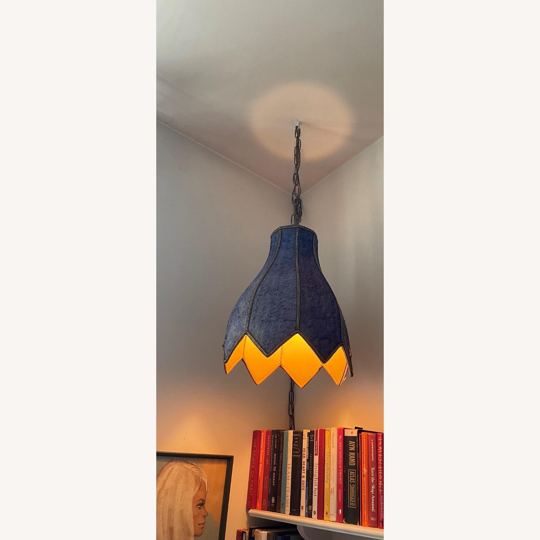 Groovy Vintage Fur Hanging Swag Lamp - image-2