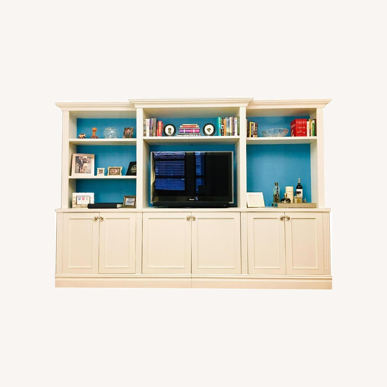 Custom Made White Entertainment/Storage Wall Unit - image-0