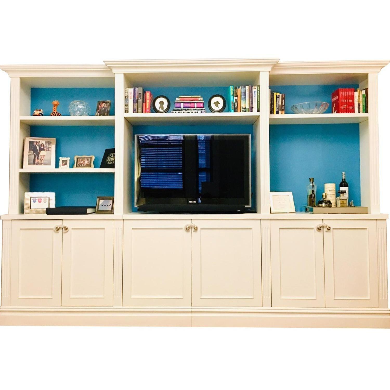 Custom Made White Entertainment/Storage Wall Unit - image-1