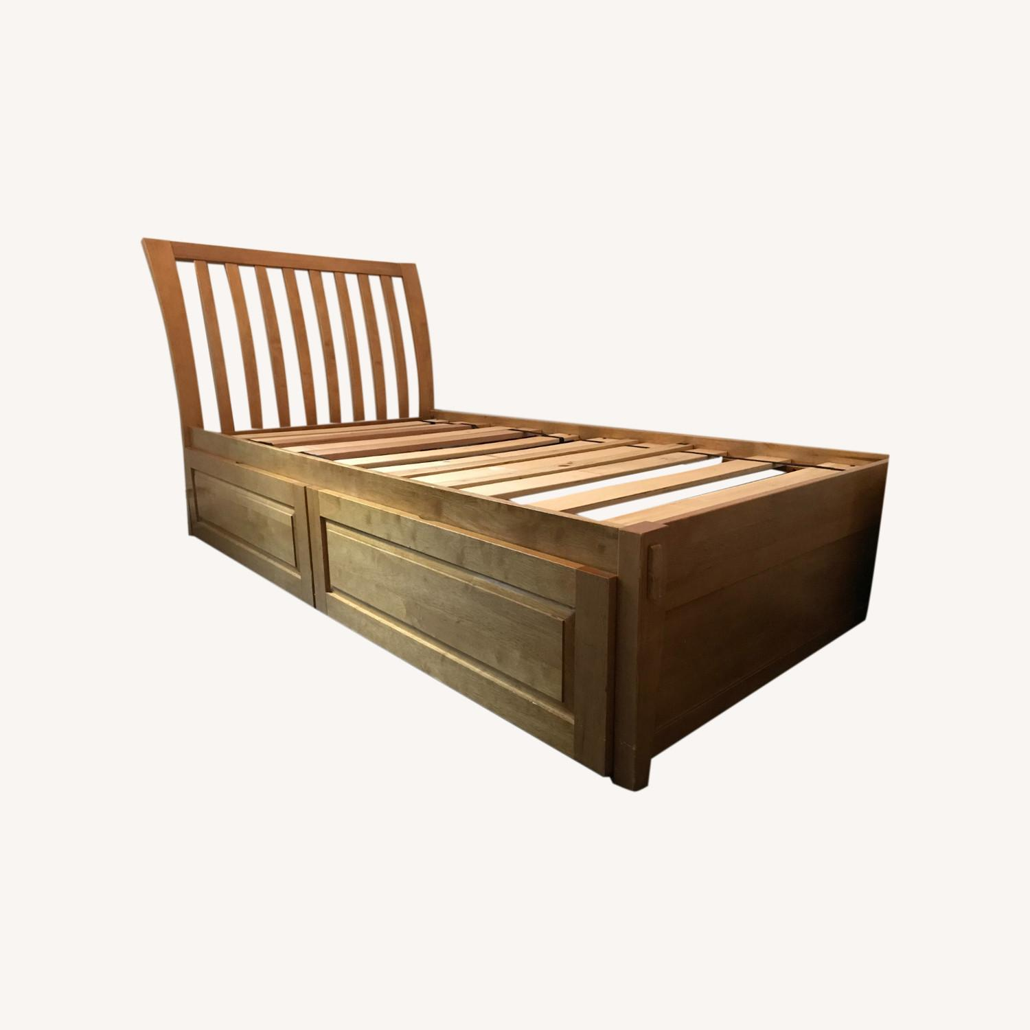 Solid Hardwood Twin Bed with Rolling Drawers - image-0