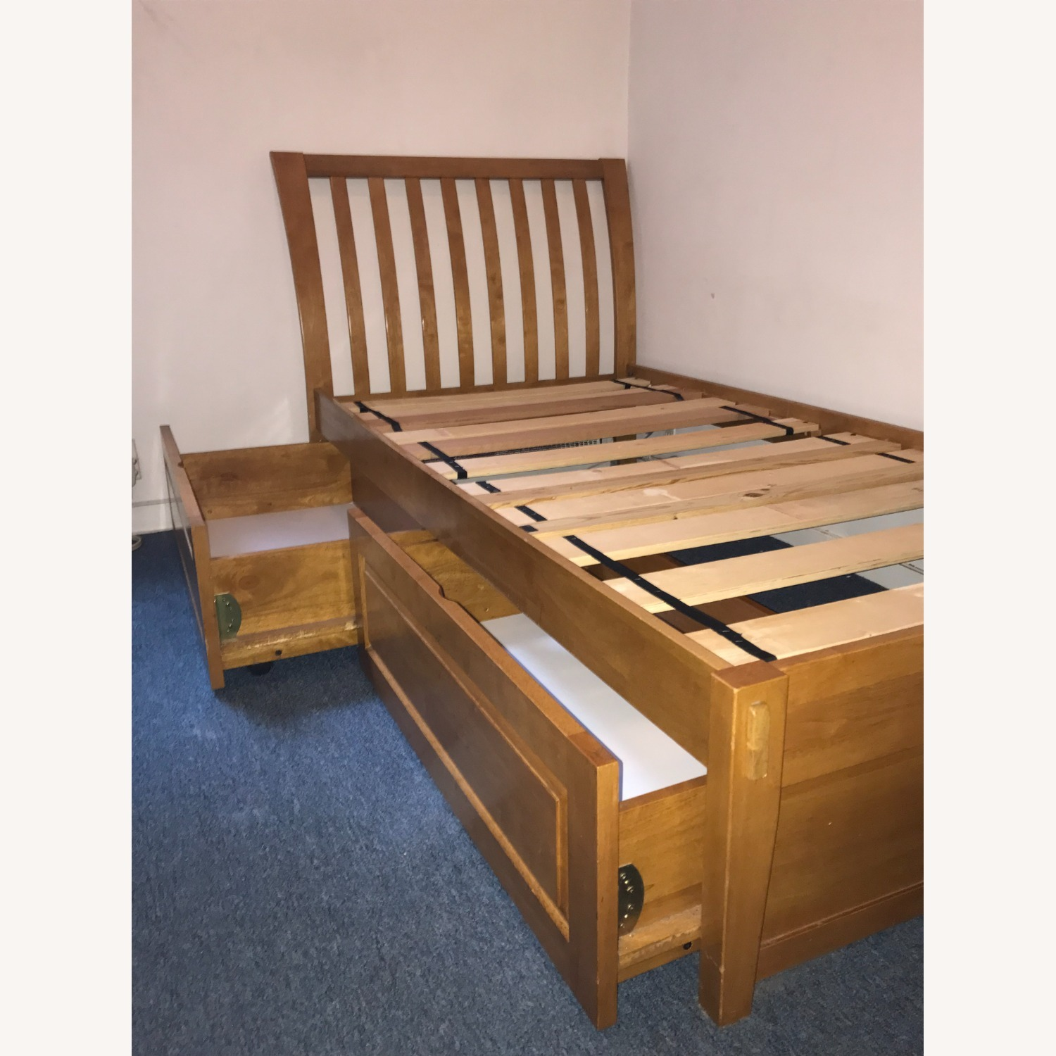 Solid Hardwood Twin Bed with Rolling Drawers - image-2