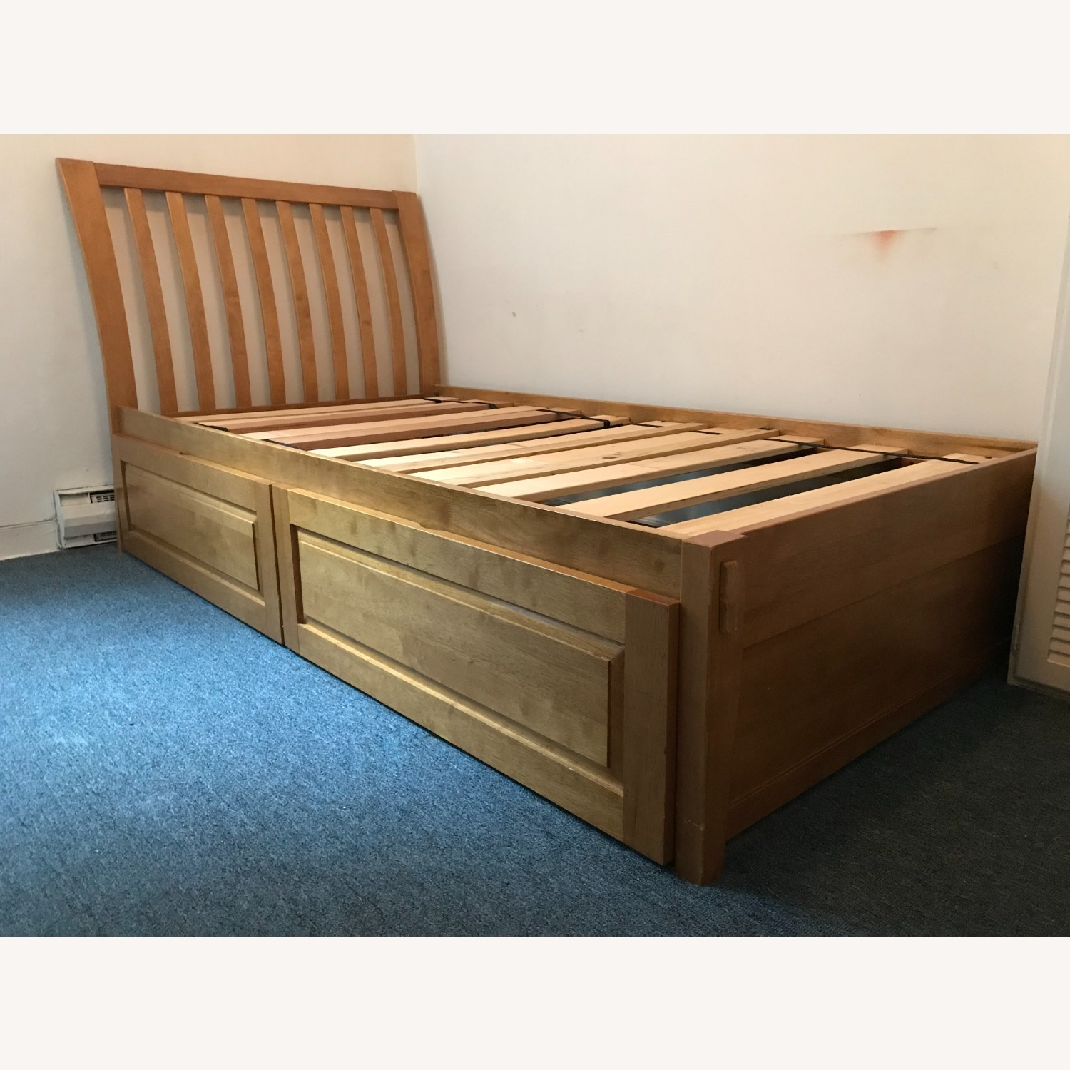 Solid Hardwood Twin Bed with Rolling Drawers - image-1